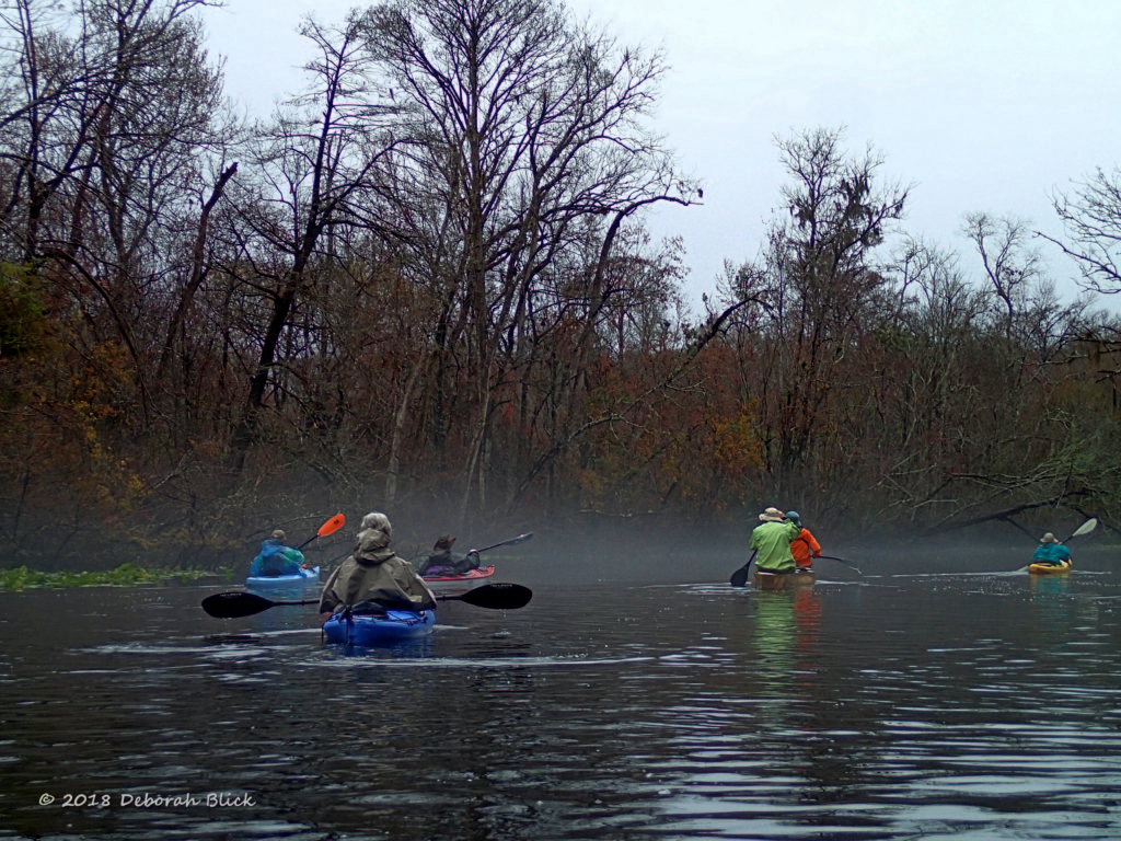 Near the put-in, paddling into the mist