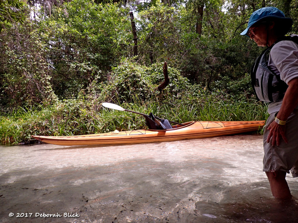 Strip-built Guillemot kayak at Gissy Spring run