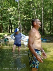 Swim break at Lily Springs with Naked Ed. He's a fascinating man to talk to.