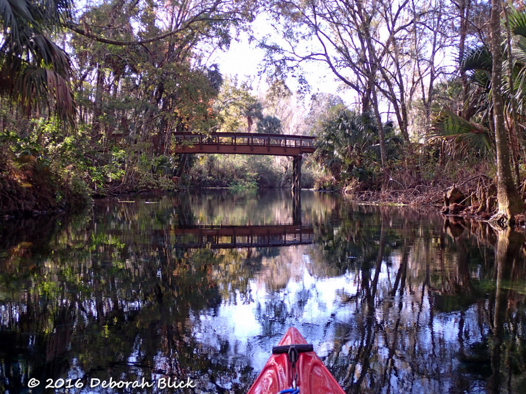 Nature trail bridge over the kayak launch canal.