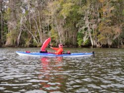 Rocinante umbrella under on the Suwannee