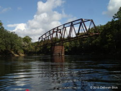 Old Drew Bridge. When the railroad was abandoned in 1920, they left the Drew swing bridge in the river in an open position.