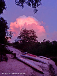 Sunset cloud reflection over our kayaks at Holton Creek River Camp.
