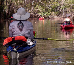 Paddling down Manatee Springs run in our Halloween finery