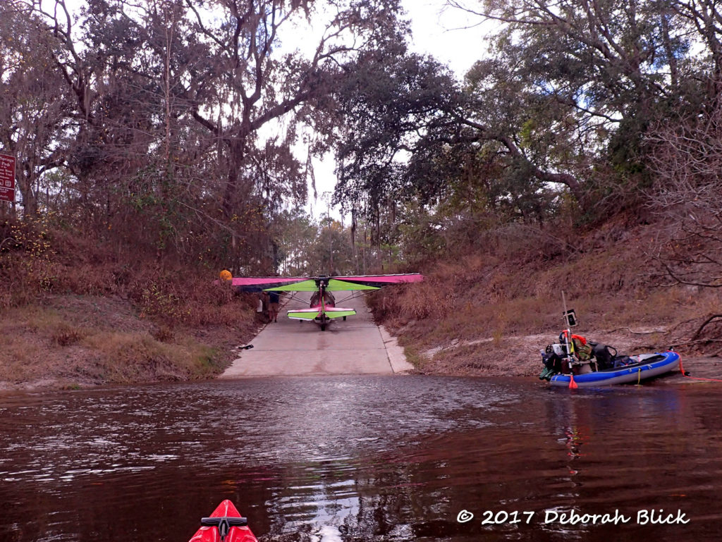 Ultralight plane stuck in the briars on the boat ramp