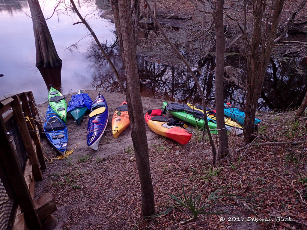 Our kayaks all snugged down for the night at Peacock Slough River Camp