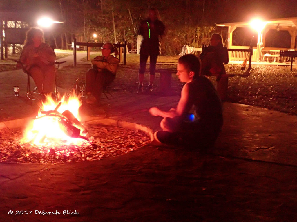 Camaradery around the campfire at Peacock Slough River Camp