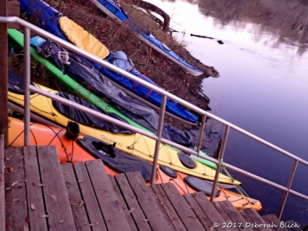 Kayaks secured almost vertically at Adams Tract River Camp